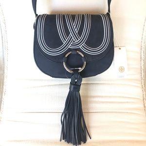 Sale😊Tory Burch Mini Tassel Leather Saddle Bag